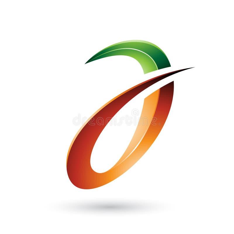 Groene en Oranje Stekelige en Glanzende die Brief A op een Witte Achtergrond wordt geïsoleerd stock illustratie
