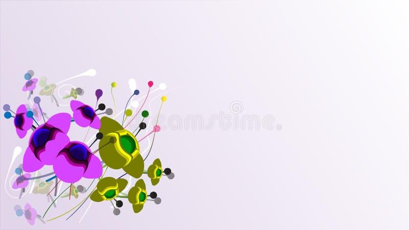 Groene en purpere bloemen stock fotografie