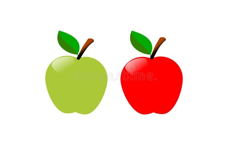 Groene en rode appel stock illustratie
