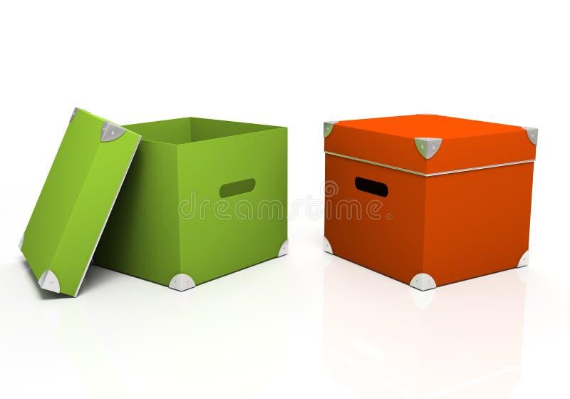 Groene en rode dozen stock illustratie