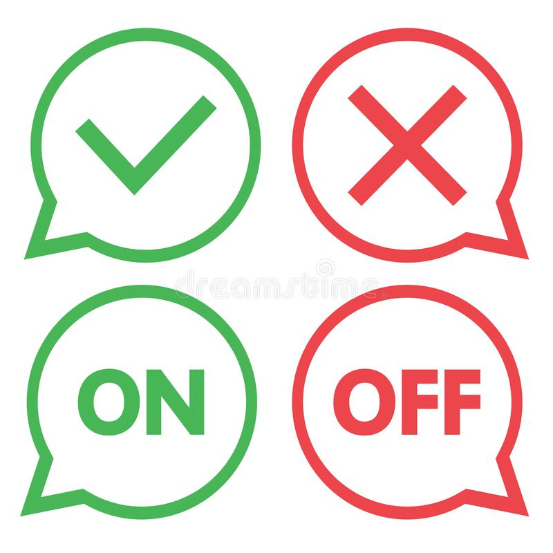 Groene en rode reeks praatjepictogrammen Ja en Geen vinkjes Aan en uit Vector stock illustratie