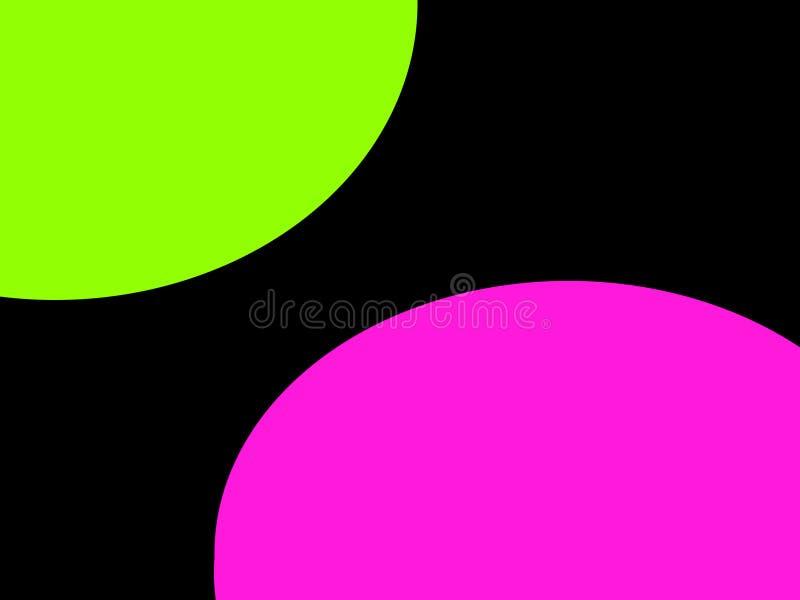 Groene en roze cirkels tegenover diagonaal elkaar, royalty-vrije stock fotografie