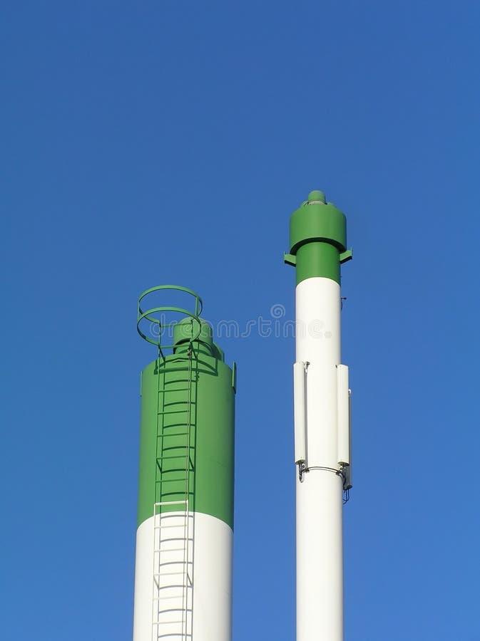 Groene en witte schoorsteen royalty-vrije stock foto's