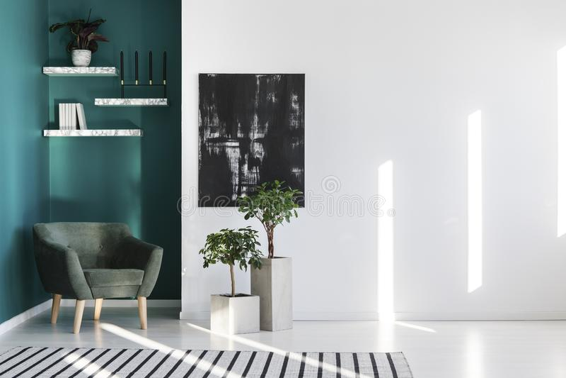 Groene en witte woonkamer stock foto