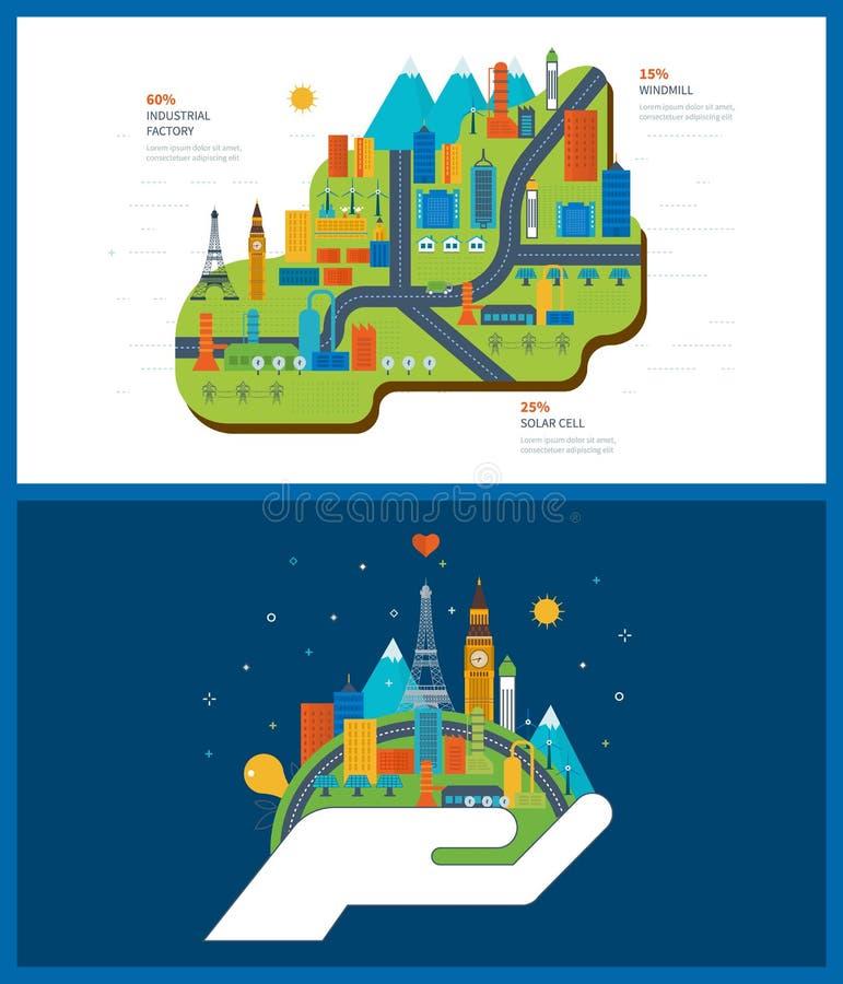 Groene energie, ecologie, eco, stedelijk landschap en industriële fabrieksgebouwen vector illustratie