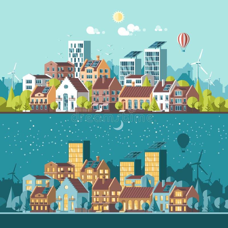 Groene energie en eco vriendschappelijke moderne stad royalty-vrije illustratie