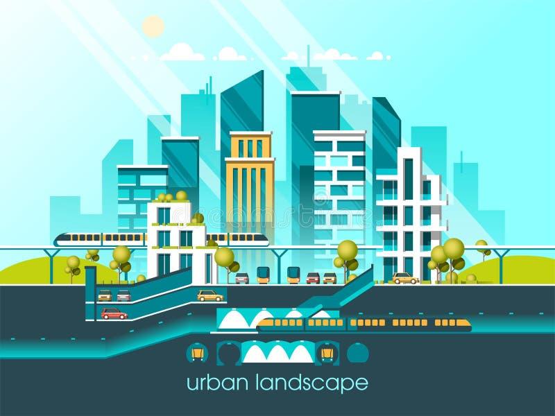 Groene energie en eco vriendschappelijke stad Moderne architectuur, gebouwen, hi-tech huizen in de stad, groene daken, wolkenkrab vector illustratie
