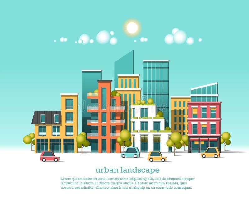 Groene energie en eco vriendschappelijke stad Moderne architectuur, gebouwen, hi-tech huizen in de stad, auto's, groene daken, wo royalty-vrije illustratie