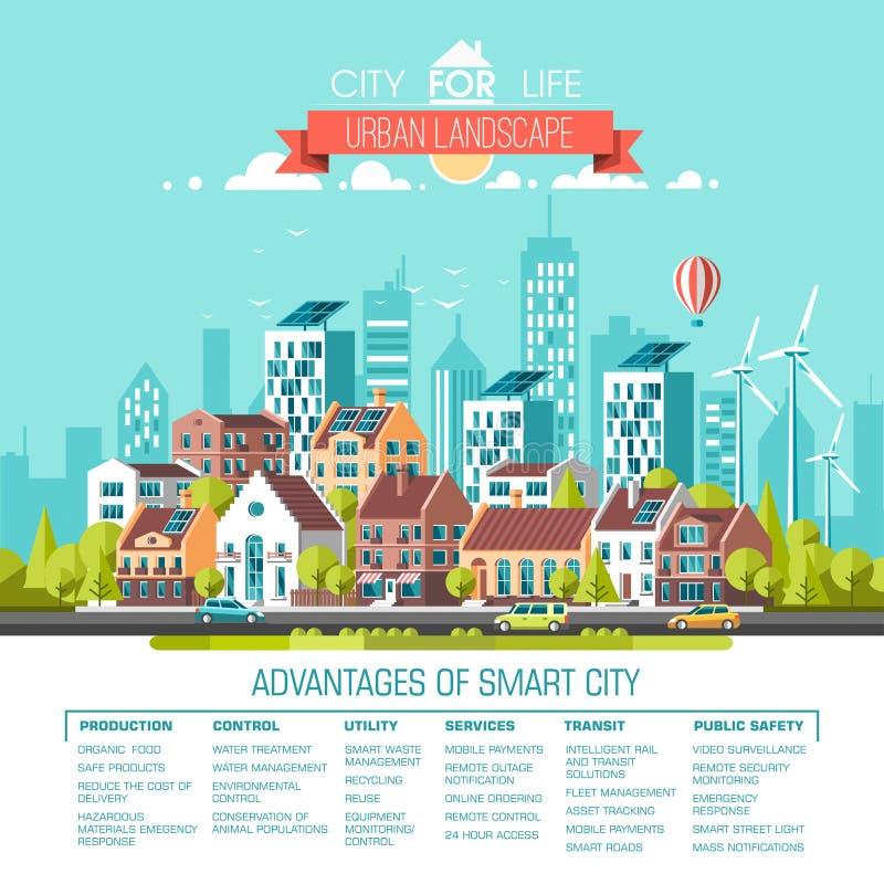 Groene energie en eco vriendschappelijke stad Moderne architectuur, gebouwen, hi-tech huizen in de stad, groene daken, wolkenkrab royalty-vrije illustratie