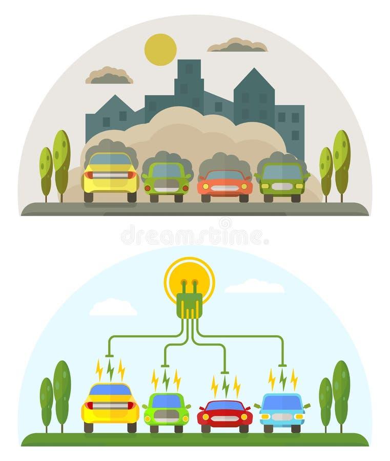 Groene energie en verontreinigingsauto's stock illustratie