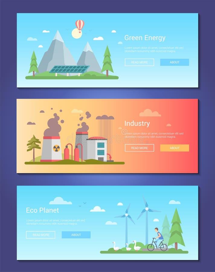 Groene energie - reeks moderne vlakke vectorillustraties van de ontwerpstijl vector illustratie