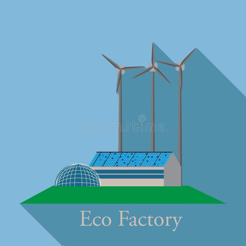Groene energie, stedelijk landschap, ecologie De vlakke illustratie van het ontwerp vectorconcept stock illustratie