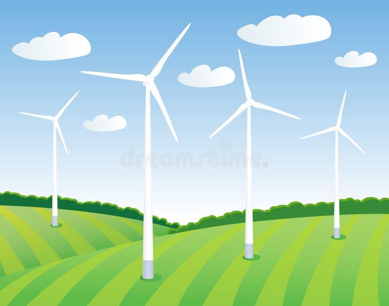 Groene energie van de wind vector illustratie
