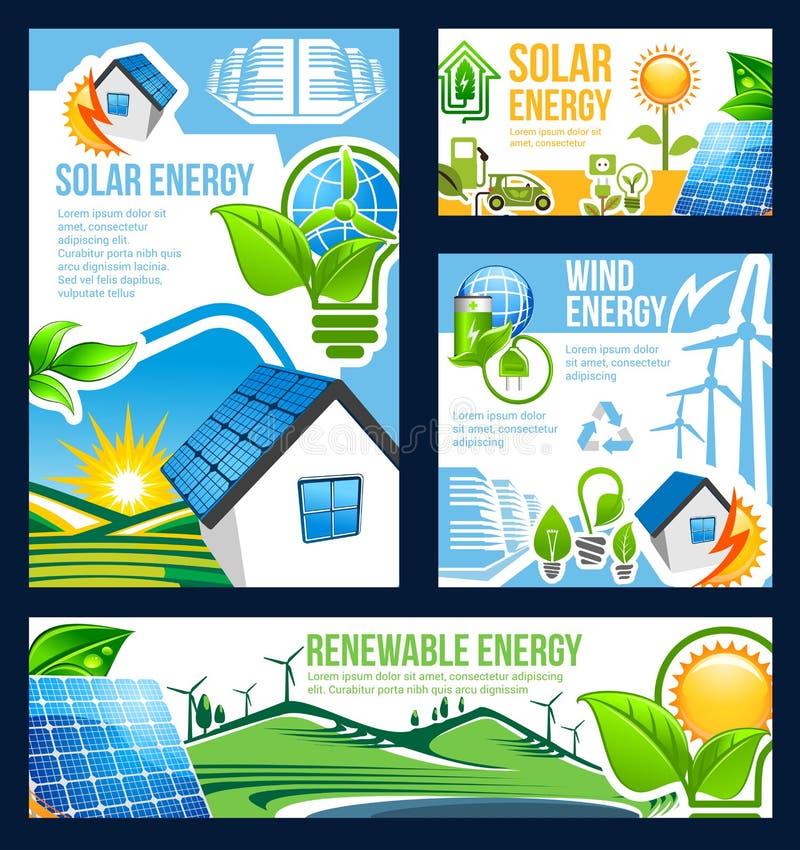 Groene energiebanner van zonne, wind en hydromacht stock illustratie