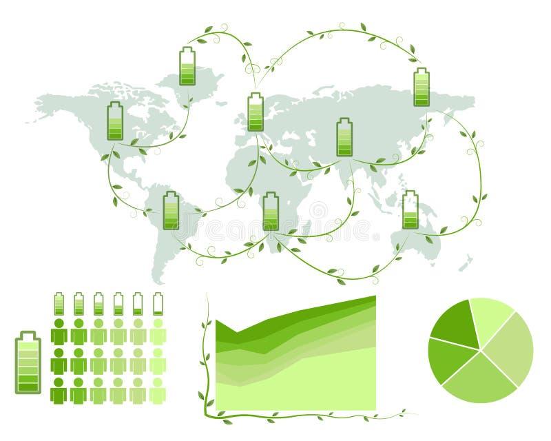 Groene Energiepictogram en Wereldkaart stock illustratie