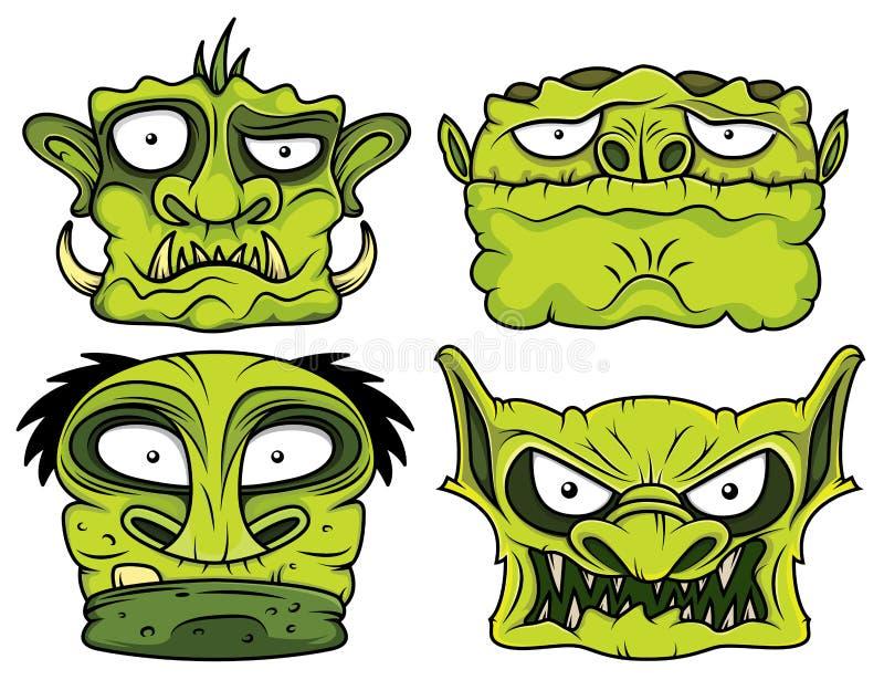 Groene enge de zombie hoofdillustratie van Halloween royalty-vrije illustratie