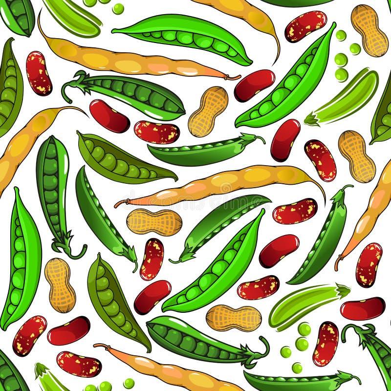 Groene erwten, pinda's en bonenpatroon stock illustratie