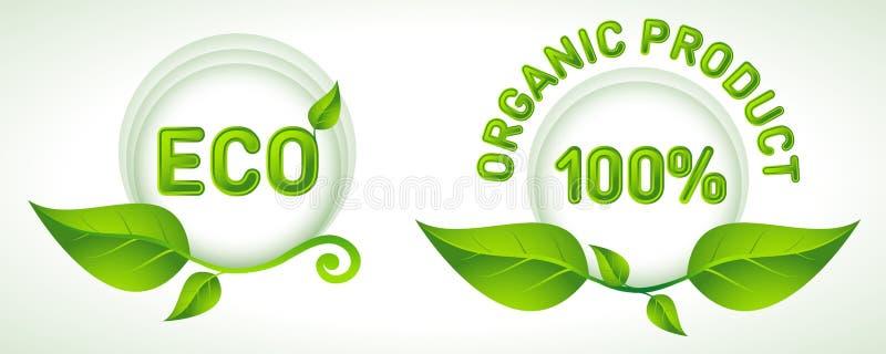 Groene etiketten met bladeren voor ecoproducten stock illustratie
