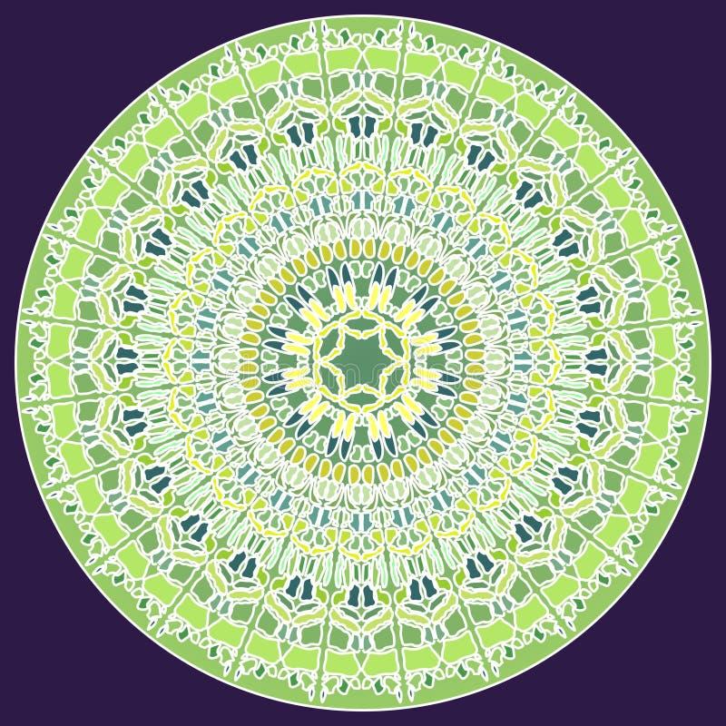Groene fijne mozaïekmandala voor energie en macht die mandala voor meditatie opleiding verkrijgen royalty-vrije illustratie