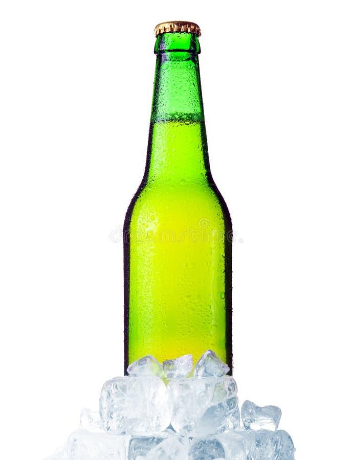 Groene fles bier met ijs dat op wit wordt geïsoleerd$ stock foto