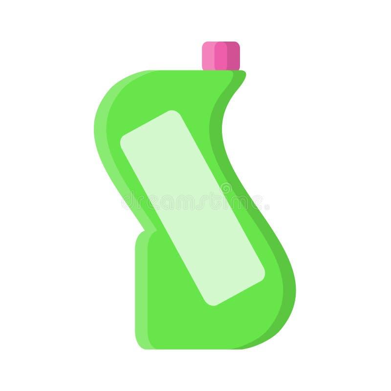 Groene fles met vloeibare reinigingsmachine in vlakke stijl op wit, voorraad vectorillustratie vector illustratie
