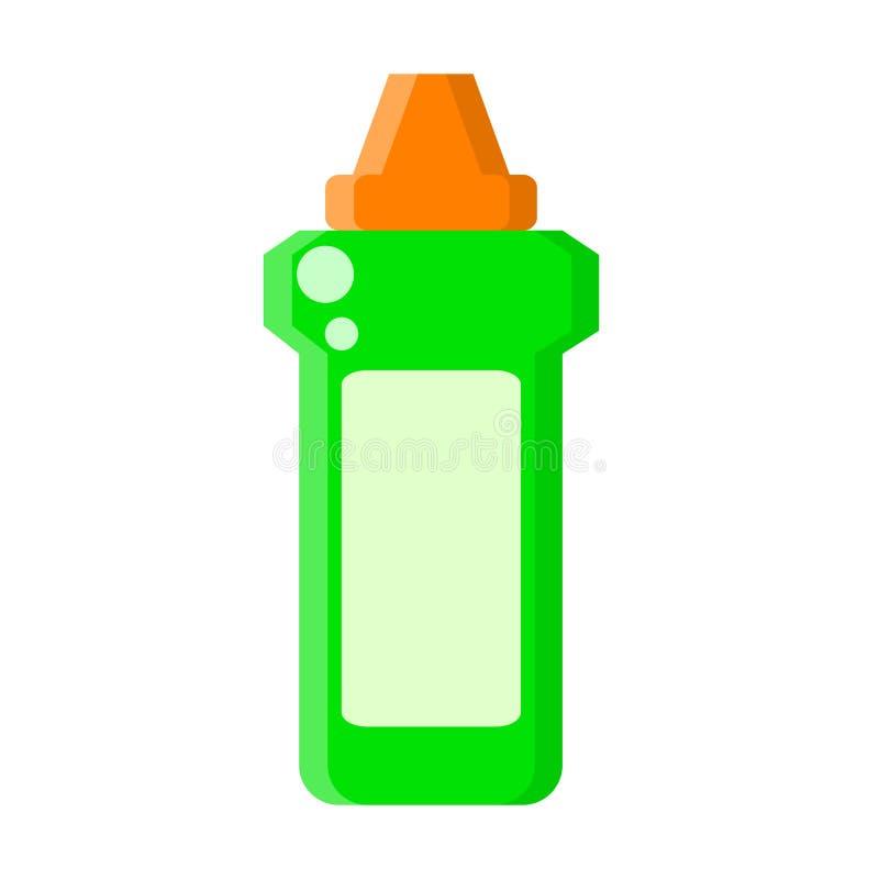 Groene fles met vloeibare reinigingsmachine in vlakke stijl op wit, voorraad vectorillustratie stock illustratie