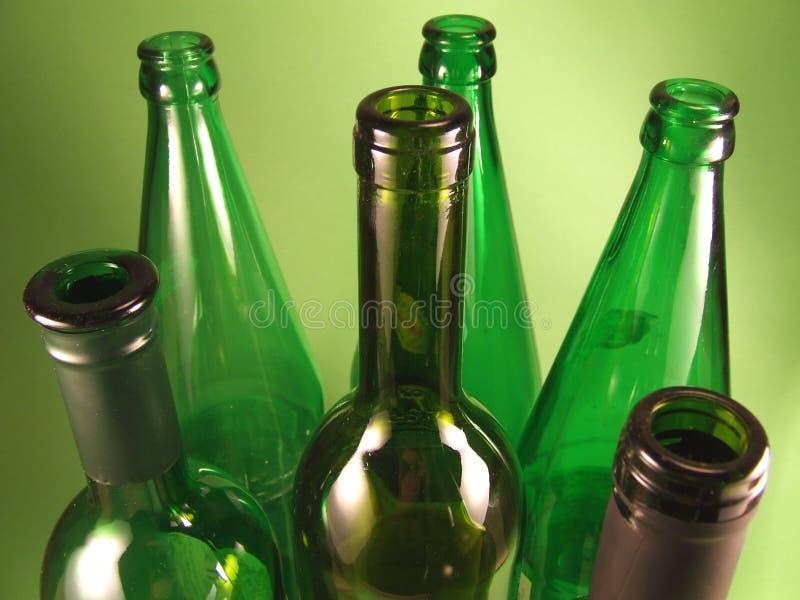 Groene flessen 2 royalty-vrije stock afbeeldingen