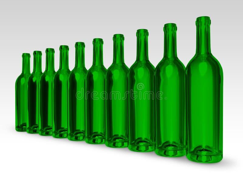 Groene flessen royalty-vrije illustratie