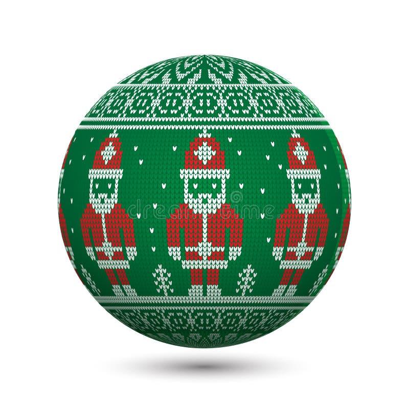 Groene gebreide die Kerstmisbal op witte achtergrond met Santa Claus en noords ornament wordt geïsoleerd royalty-vrije illustratie