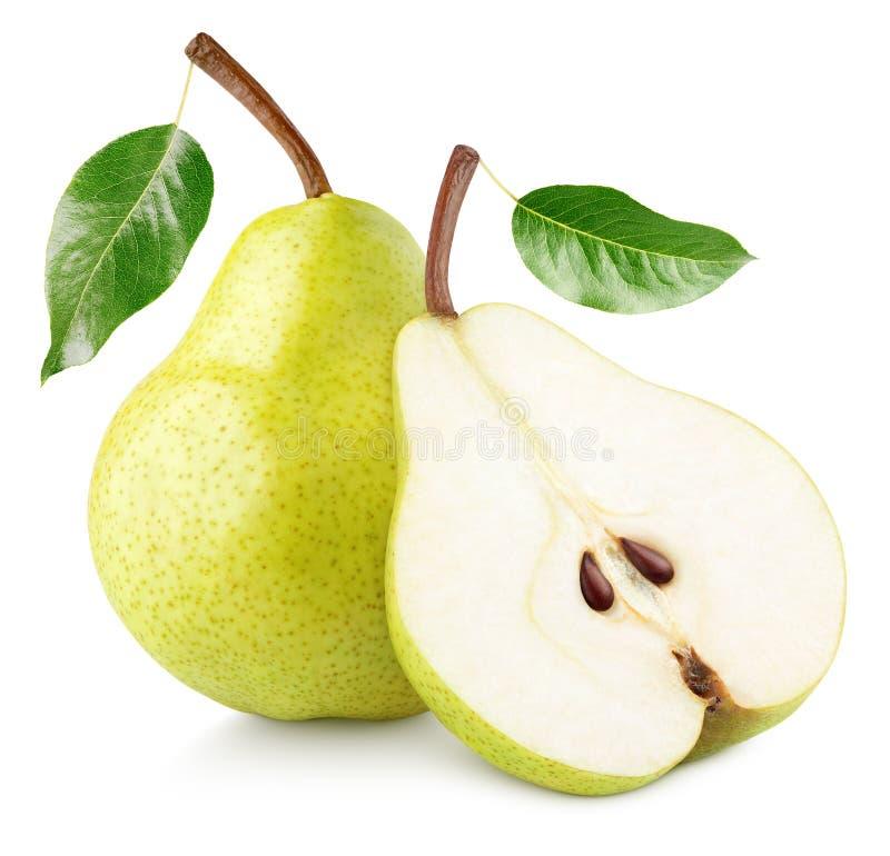 Groene gele die perenvruchten op wit worden geïsoleerd royalty-vrije stock foto's