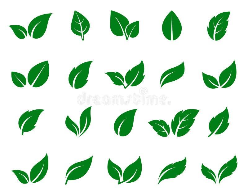 Groene geplaatste bladpictogrammen royalty-vrije illustratie