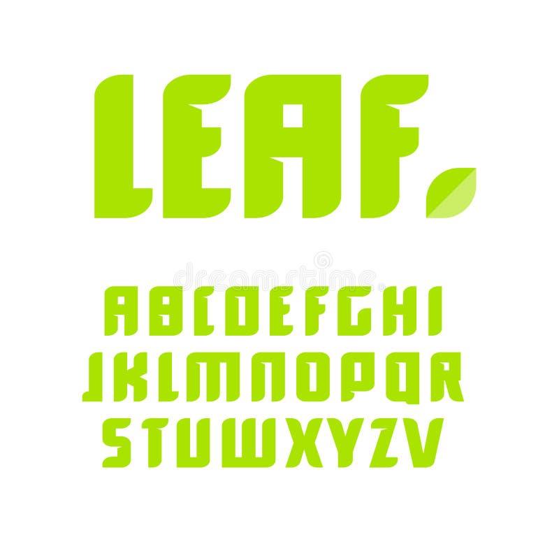 Groene geplaatste brieven Vector Latijns alfabet Natuurlijk productdoopvont Blad ABC, aardmonogram en affichemalplaatje royalty-vrije illustratie