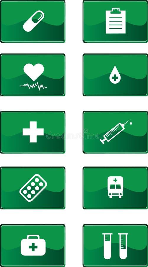 Groene geplaatste geneeskundepictogrammen royalty-vrije illustratie
