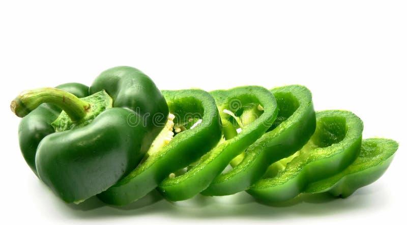 Groene gesneden groene paprika royalty-vrije stock fotografie