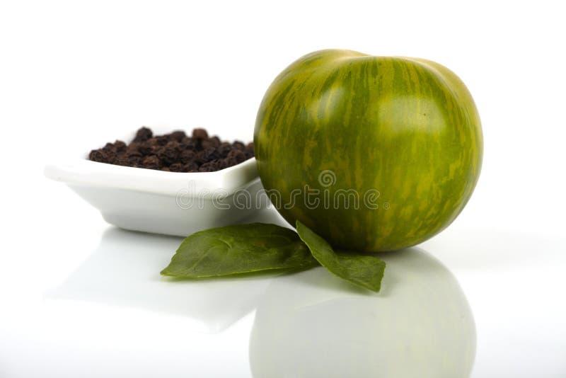 Groene Gestreepte organische tomaat royalty-vrije stock afbeelding
