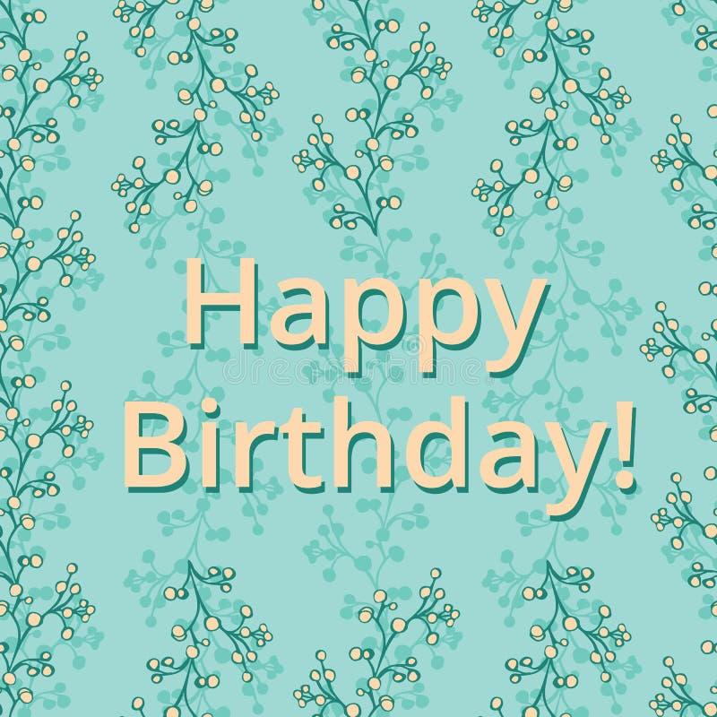 Groene gevoelige vector de groetkaart van de takken ditsy bloemen Gelukkige Verjaardag stock illustratie