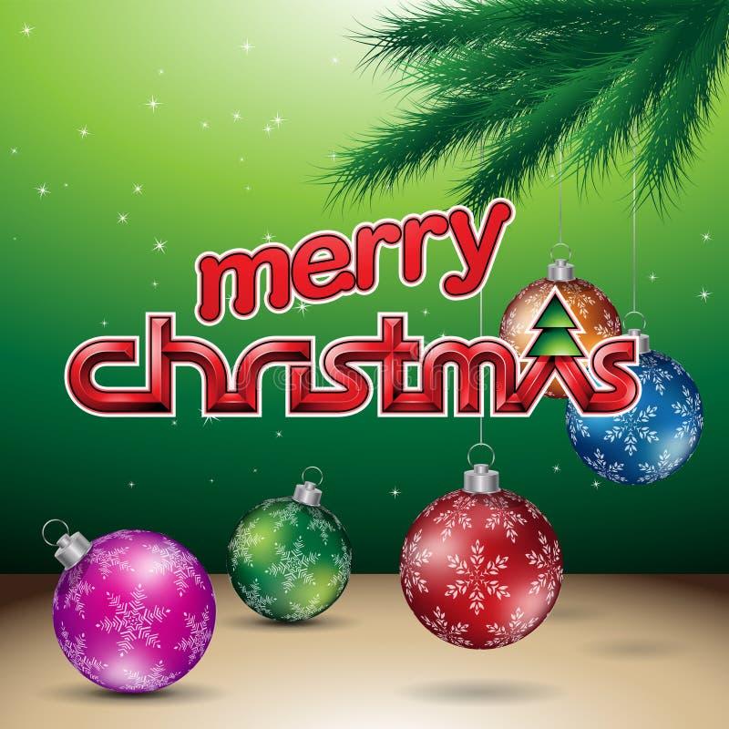 Groene Glanzende Vrolijke Kerstmis Vectorillustratie Als achtergrond stock illustratie