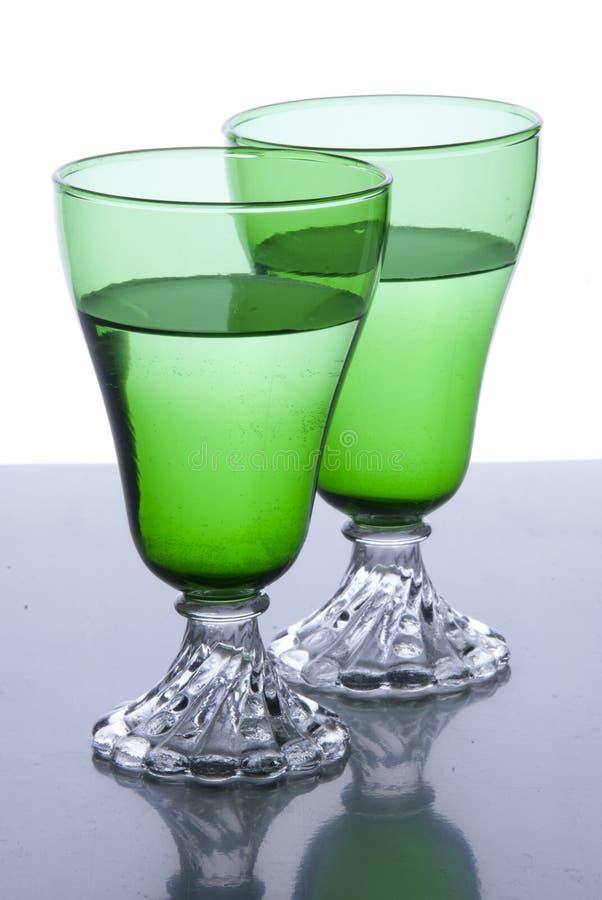 2 groene glazen royalty-vrije stock afbeelding