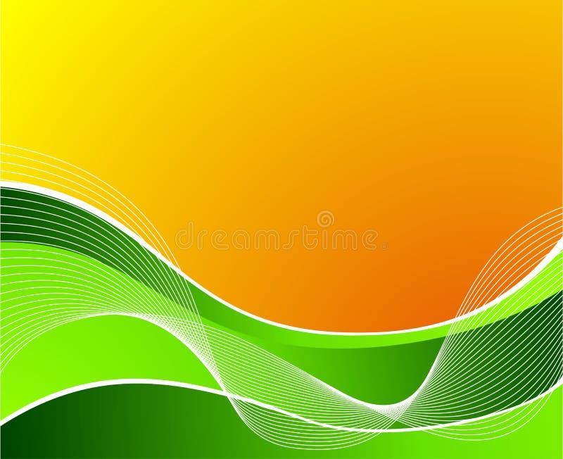 Groene golf op oranje achtergrond met witte golven stock illustratie