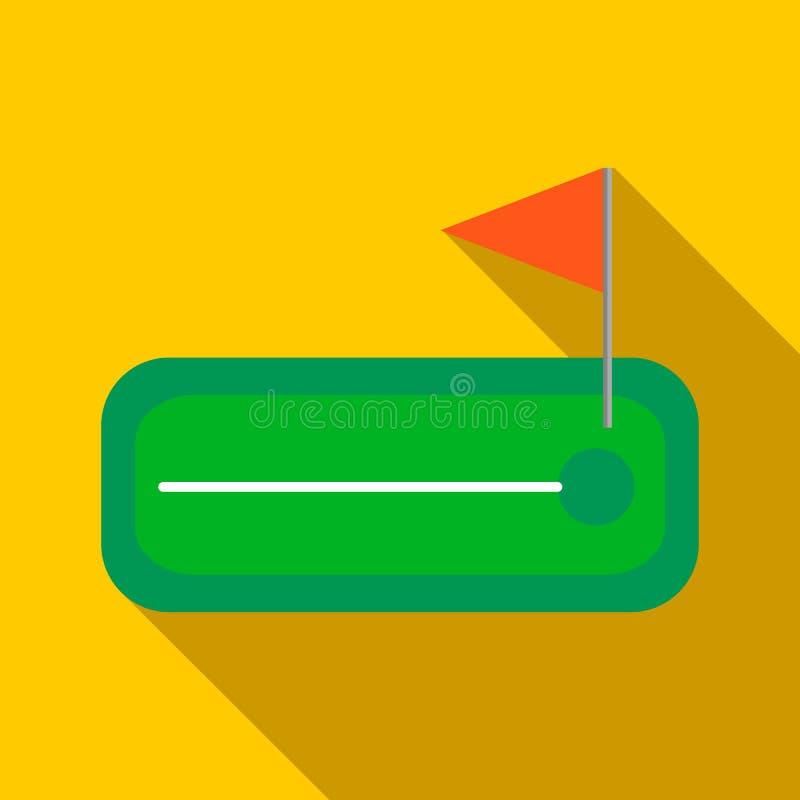 Groene golfcursus met een gat en flagstick een pictogram royalty-vrije illustratie