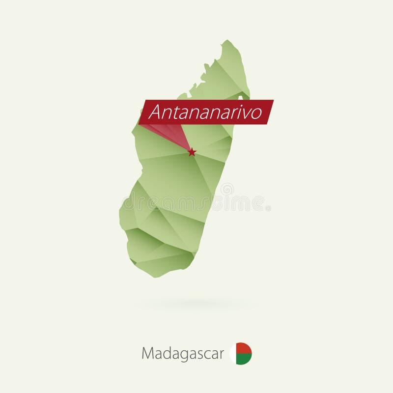 Groene gradiënt lage polykaart van Madagascar met hoofdantananarivo royalty-vrije illustratie