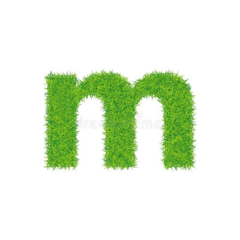 Groene grasbrief m op witte achtergrond vector illustratie