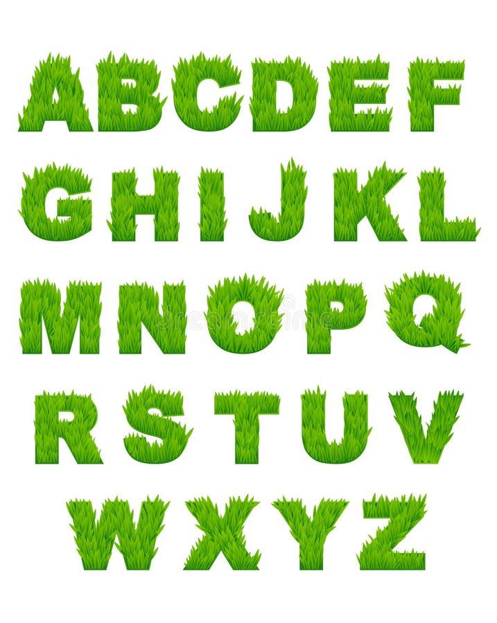 Groene grasbrieven van alfabet royalty-vrije illustratie