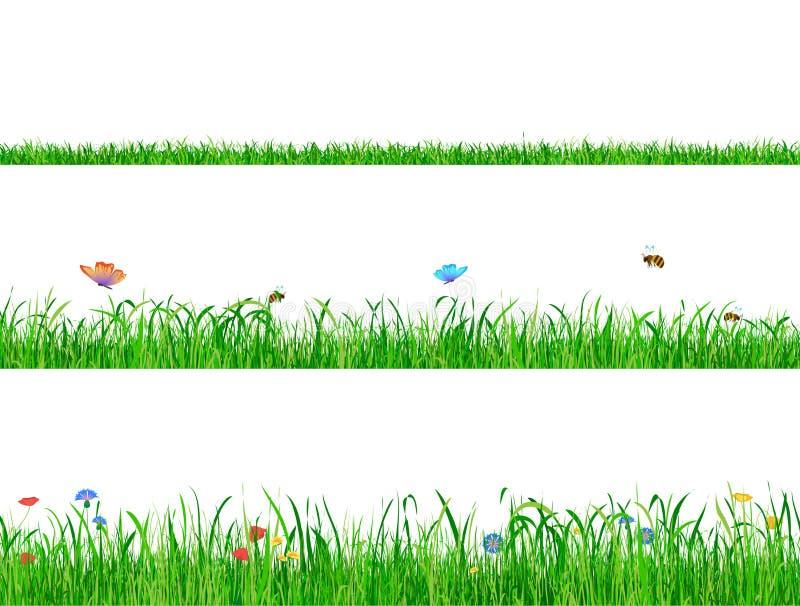 Groene grasgrenzen als achtergrond met bloemen, vlinders en bijen royalty-vrije illustratie