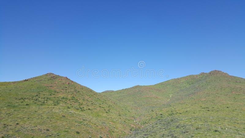 Groene grasrijke bergen tegen een breautiful heldere bluhemel stock afbeeldingen