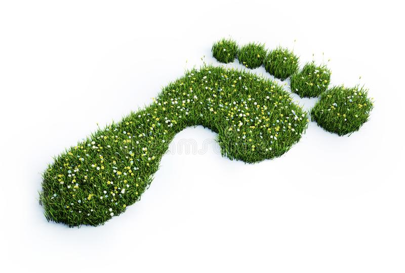 Groene grasvoetafdruk - ecologie 3D illustratie vector illustratie
