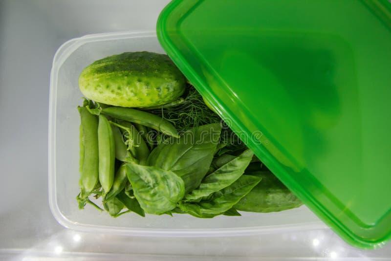 Groene groente in de plastic voedselcontainer op een plank van een koelkast stock afbeelding