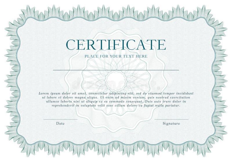 Groene Guilloche certificaat of van het diplomamalplaatje achtergrond, modern ontwerp Vector illustratie royalty-vrije illustratie