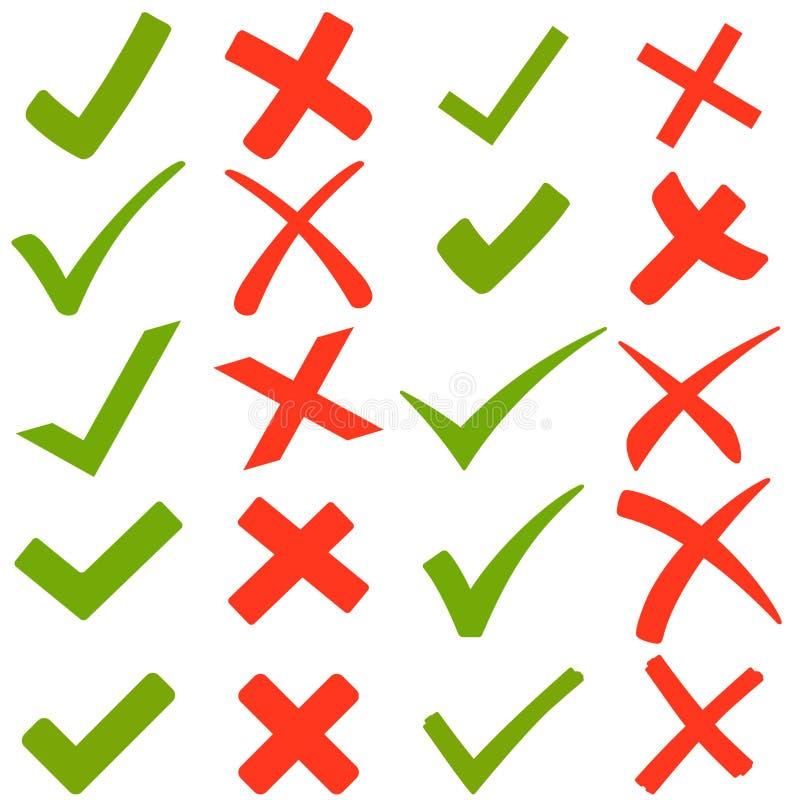 groene haken en rode kruisen stock illustratie