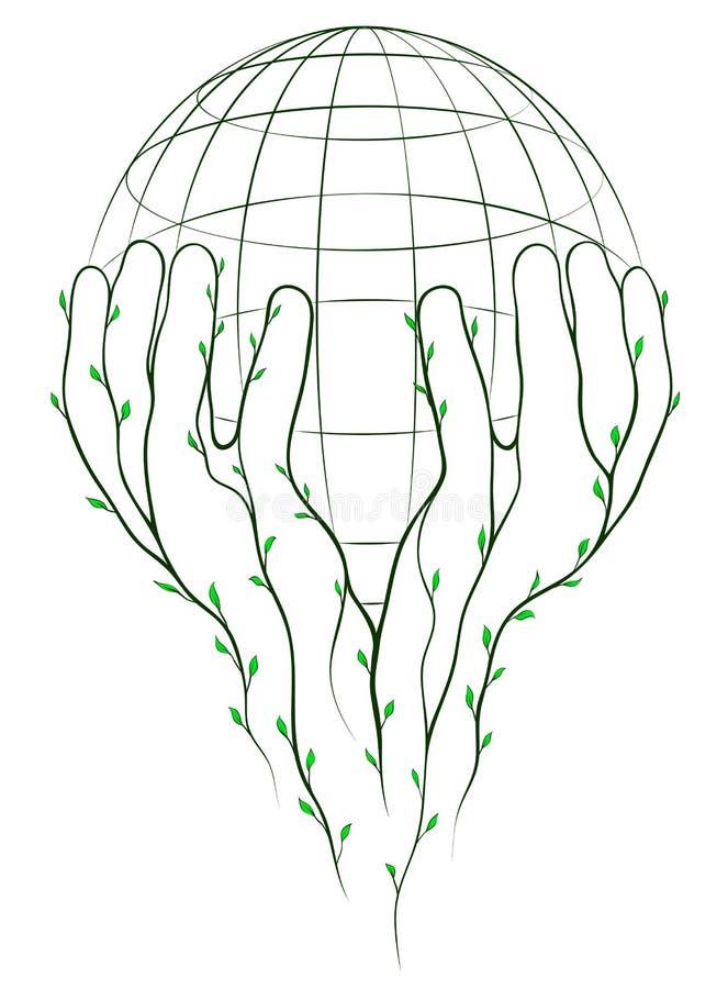 Groene handen en bol vector illustratie